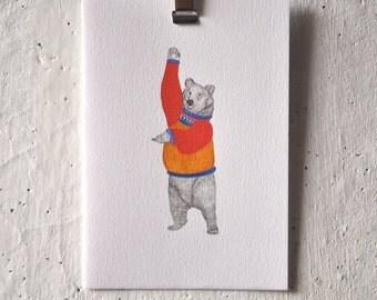 Waving Bear Greeting Card