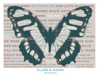 Personalised Butterfly print A4 wall art Keats love poem poetry anniversary wedding