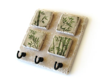 Natural Stone Tile Key Hook, Green Grass Bamboo Art, Nature Decor Key Rack, Key Holder, Wall Hooks, Earthtones