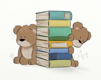 Teddy Bear Nursery Wall Art Childrens Print, 11 x 14 Boys Room Decor for Wall, Reading Artwork for Baby  (144)