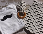 Ready to Ship-The Couture Mama Gift Set- Onesie, Burp Cloth and Organic Teething Ring- Geekly Mustache