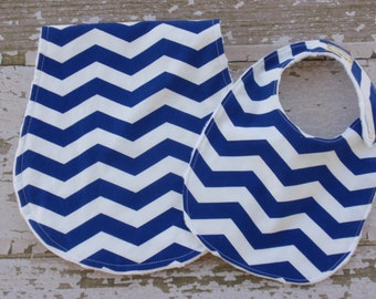 The Couture Mama Burp Cloth and BIb Set in Blue Chevron