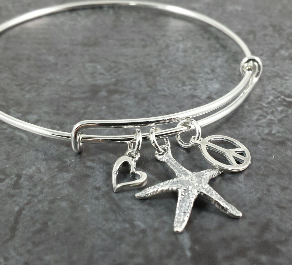 adjustable sterling silver bangle charm bracelet expandable