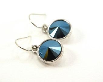 Metallic Navy Blue Drop Earrings Sterling Silver Midnight Blue Dark Dangle Earrings