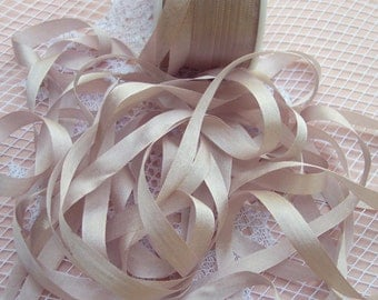 Pure Silk Ribbon 7 mm 1/4 inch wide 10 yards Blush/Bisque Color