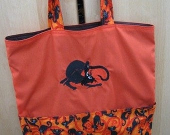 Crouched Black Cat Halloween Eco Friendly Tote, Purse, Bag