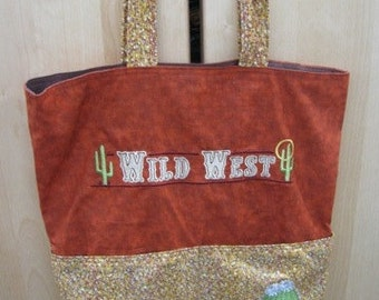 Wild West and Blooming Cactus Eco Friendly Tote Bag Purse