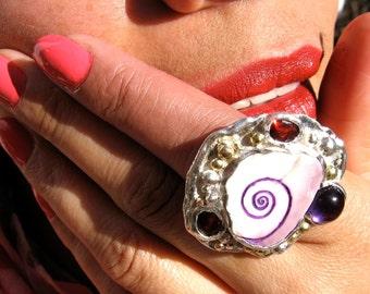 Scrimshaw Wampum  Sterling handmade 18kt gold amethyst garnet sacred spiral statement ring