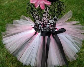Pink PIRATE Tutu--Pink White and Black tutu--Girls Pirate Costume-- Popstar Costume- Shabby Chic tutu- Paris tutu- Baby pink pirate