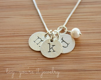 Initial Jewelry - Hand Stamped Necklace - Hand Stamped Jewelry - Initial Necklace - Mommy Jewelry - Mom Necklace - Personalized Necklace
