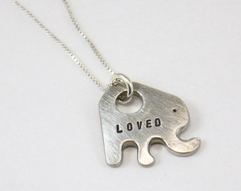 Personalized Elephant Necklace - Pewter Elephant Necklace - Gift for Her - Trending Jewelry for Her - Loved Necklace - Name Jewelry - etsy