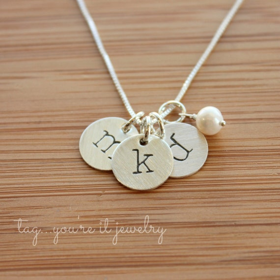 Initial jewelry hand stamped necklace hand stamped jewelry for How do you make hand stamped jewelry