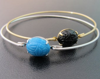 Scarab Bracelet, Scarab Jewelry, Blue or Black Egyptian Jewelry, Scarab Beetle Jewelry, Scarab Beetle Bracelet, Scarab Bangle Bracelet