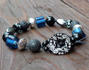 Black Mixed Media Bracelet - Blue Cane Glass Beads, Lava Beads, Silver Beads