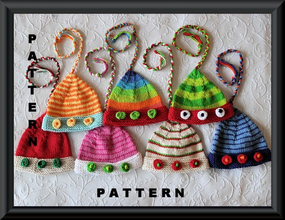 Knitted Hat Pattern Baby Hat Pattern Elf Hat Pattern Munchkin Hat Pixie Hat Jester Hat Santa's Helper Christmas  hat: ELF HAT