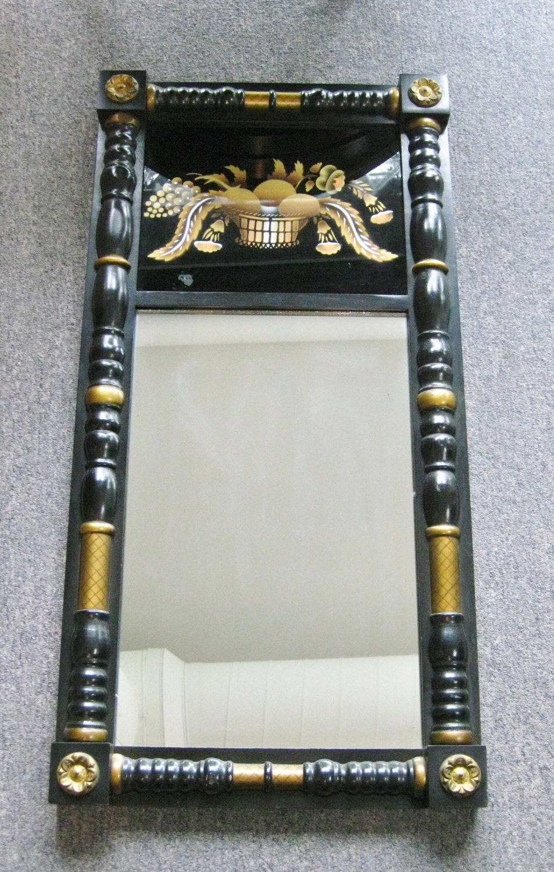 Vintage Hitchcock Mirror Black And Gold Framed Reverse