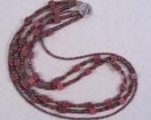 Three-strand Mauve Gemstone Necklace, Mauve Necklace, Hand Beaded Jewelry, Unique Gift Jewelry, Feminine Jewelry, Iridescent Beads