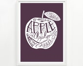 Apple Print – Hand Printed, 18 x 24 - Pick Your Color