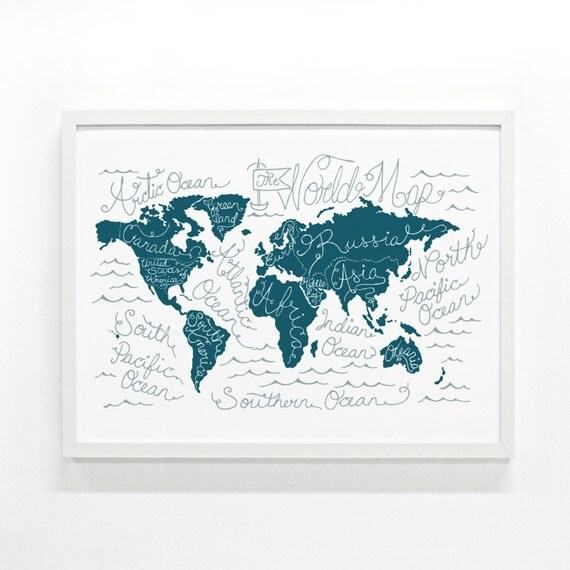 World Map Screen Print - 18 x 24 Handprinted Poster, Wall Art Decor, Travel Poster, Illustration