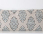 Blue damask pillow cover - Premier Prints Monroe Cadet - blue and oatmeal accent pillow cover