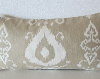 Pillow Cover - Tullahoma Sand Dollar Ikat - Cushion Cover - tribal - tan - decor pillow case