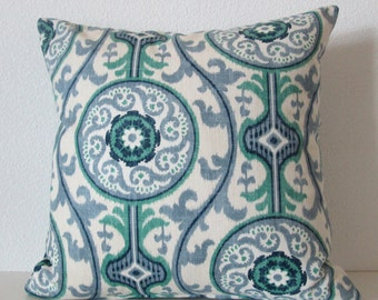 Pillow Cover - Oh Suzanni - Ocean - Blue - Ikat - medallion - Cushion Cover