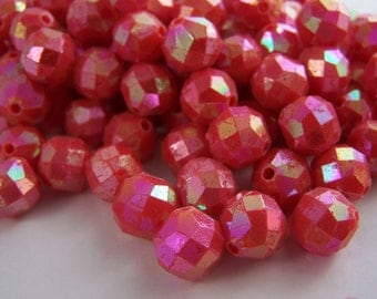 FREE SHIPPING - 22 pcs Iridescent Faceted Acrylic Beads (#1310)