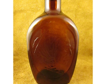 Native American Indian Log Cabin Syrup Bottle – Bicentennial Collector Amber Glass Flask – Vintage General Mills Advertising