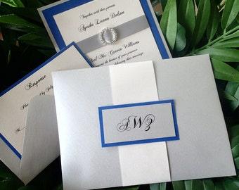 Royal Blue Wedding invitation, Elegant invitation, crystal wedding invitation, Silver invitation, Fancy invitation, modern  invitation