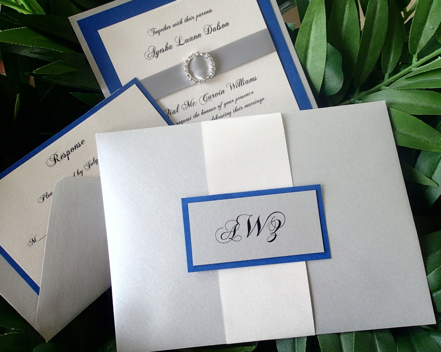 Royal Blue Wedding Invitation Elegant Crystal