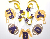 Football baby shower decorations purple and yellow it's a boy banner by ParkersPrints on Etsy