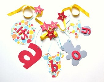 Baby shower decorations it's a boy banner red yellow blue by ParkersPrints on Etsy