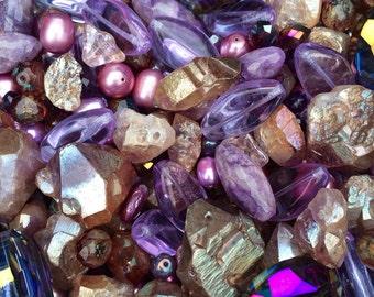 Purple Lavender Plum Semi Precious Bead Mix with Czech Glass