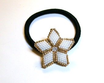 Elastic Ponytail Holder Star in white gold and Swarovski crystal double sided peyote bead weaving