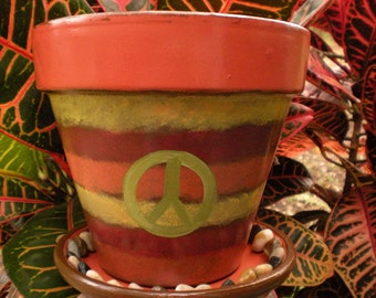 Painted Flower Pot - Peace Sign - Rustic - Vintage Look - Large Planter - Boho