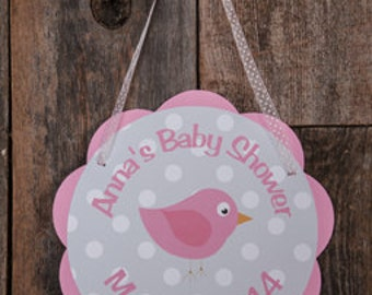 Birdie Themed Baby Shower Party Sign - Pink Bird It's a Girl Baby Shower Door Hanger in Light Pink and Grey