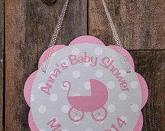Baby Shower Decorations - Carriage Baby Shower Door Hanger, Carriage Theme Baby Shower Decorations, It's a Girl Sign in Pink and Grey