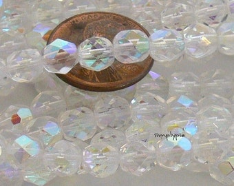 Crystal AB, Czech Beads Fire Polished 6mm 25 Faceted Round GLass