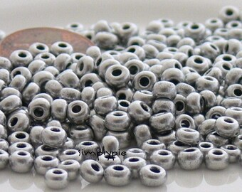 Satin Silver 6/0 Czech Glass Seed Beads 10-Grams