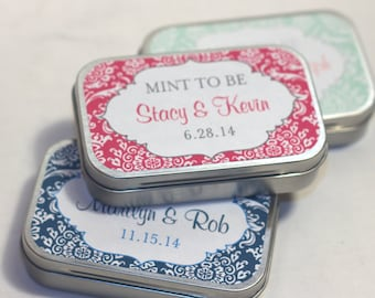 "8 Personalized Bridal Shower Favor Tins - Wedding Favor Tins - Custom Mint Tins - Mint to Be - Metal Tins - 3.9"" by 2.5"""