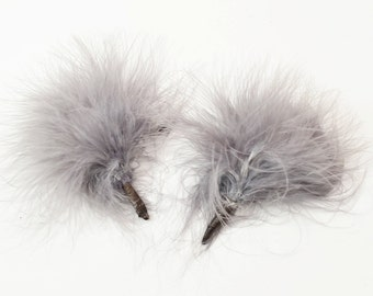 1pc Fluffy Dandy Lion - Marabou Pompoms, Bundled Feathers, baby headband accessories (Oxford Grey #24)