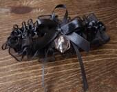 D20 dice garter gamers wedding bridal accessory geek rpg elf runes elvish dark elven dice black transparent