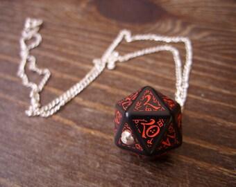 dark elf dice pendant elvish d20 dice rgp larp black red inscriptions elvish runes dark elf tolkien fantasy