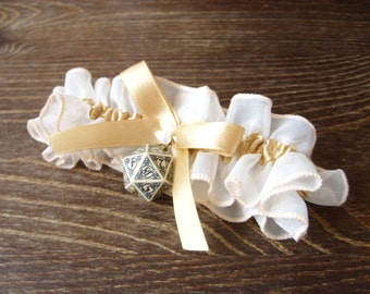 Steampunk D20 dice garter gamers wedding bridal accessory geek rpg steam punk dice beige