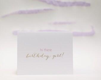 Birthday Girl Sweet Gold and Pink Birthday Card by Dodeline Design Charleston South Carolina