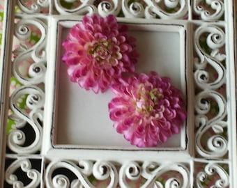 2 inch Pom Pom Mum Silk Flowers------Lavender/Pink-----Set of 2