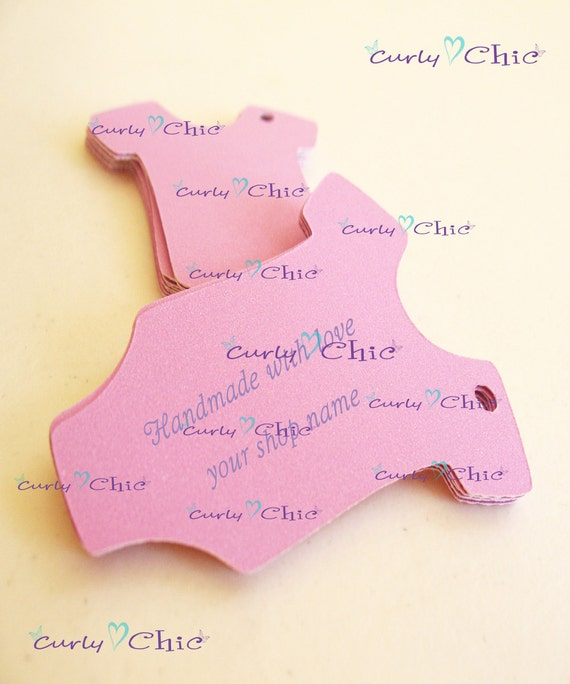 """25 Personalized Baby Bodysuit Tag Size 2"""" In Non-textured or Textured Cardstock paper"""