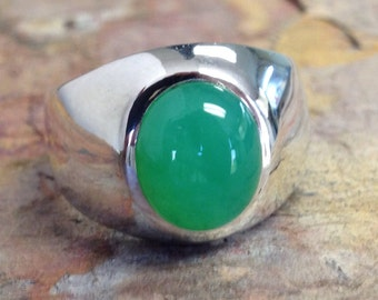 Men's  Classic Heavy  Sterling Silver Ring with Chrysoprase  12x10mm oval