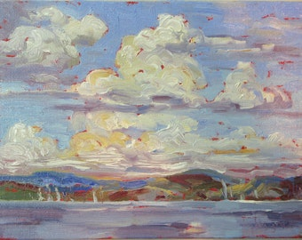 Northern Tranquility, a 6 x 8 original framed oil painting on canvas board by Yvonne Wagner. Northern landscape. Canada. SFA. SALE