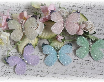 Pastel and Pearl Butterfly Embellishment Set with Glitter Glass for Scrapbooking or Cardmaking